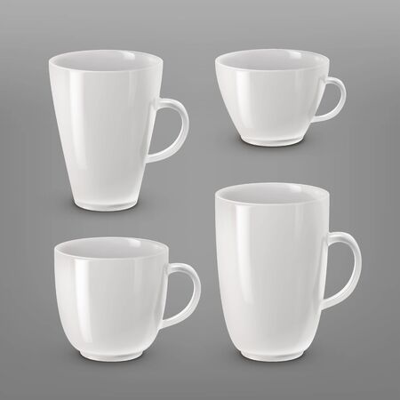 A Vector illustration of collection of various white cups and mugs for coffee or tea isolated on white background