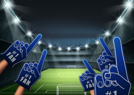 A Vector illustration of fans on the tribune with bright spotlight illuminates green football field.