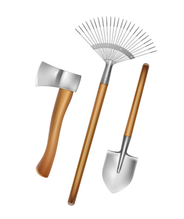 A Vector gardening hand tools: rake, shovel, axe with wooden handle isolated on white background Illustration
