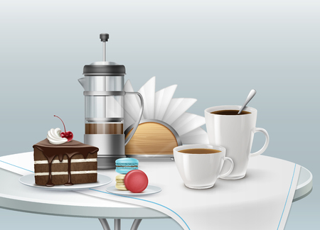A Vector illustration of cup of coffee with piece of chocolate cake on a plate Illustration