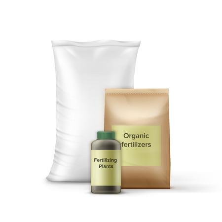 Ein Vektorsatz Flasche und Taschen mit Düngemittel für die Gartenarbeit, Landwirtschaft. Getrennt auf weißem Hintergrund Vektorgrafik