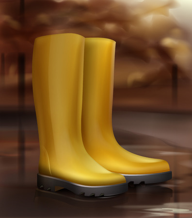 A Vector illustration of yellow rubber boots. Isolated on landscape background. Illustration