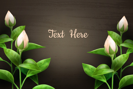 A Vector illustration of beautiful flowers on wooden table with space for text. Isolated, top view Vettoriali