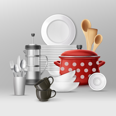 Vector set of kitchenware. Dishes and cooking utensils. Isolated on gray background Illustration