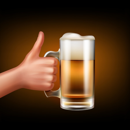 Side view of hand hold mug full of beer isolated on white background.