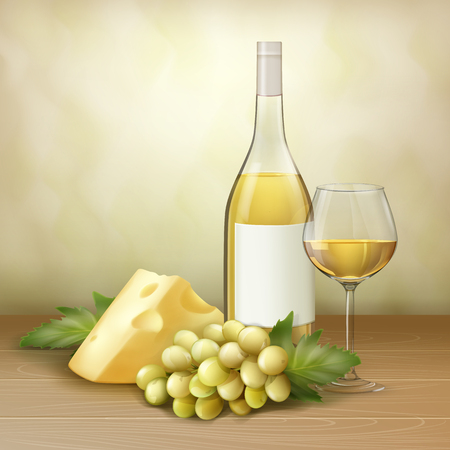 Vector bunch of white grape, bottle and glass of wine with cheese on wood table. Illustration
