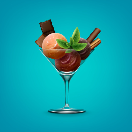 Illustration of mixed sundae ice cream in cocktail glass with chocolate on white background Vectores