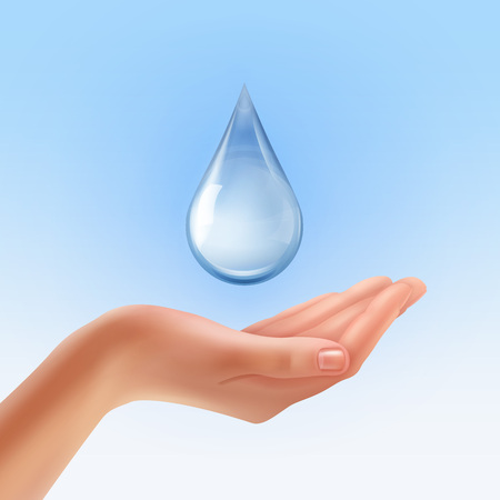 Realistische Hand mit dem Wassertröpfchen, das auf Hintergrund lokalisiert wird, schützen Wasserkonzeptillustration.