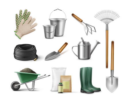 Vector set of tools for gardening and horticulture Illustration