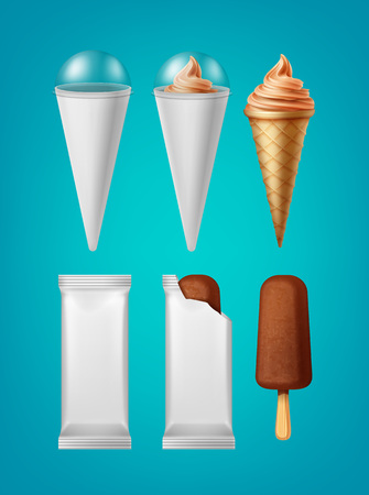 Packaging for classic popsicle ice cream and cone ice cream vector illustration isolated on blue background. Illustration