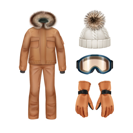 Vector sport winter apparel set: brown coat with fur hood, pants, gloves, white knitted cap and goggles front view isolated on white background Illustration
