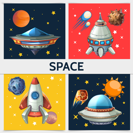 Colorful space square composition with rocket spaceship, ufo, sun, planets, asteroids, meteors, comets on cosmic background in cartoon style vector illustration Vectores