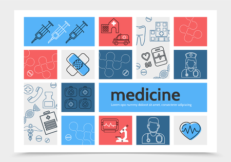 Medicine info-graphic template with syringe ambulance car hospital nurse doctor plaster dna microscope caduceus heartbeat stethoscope pills medical box line icons vector illustration.