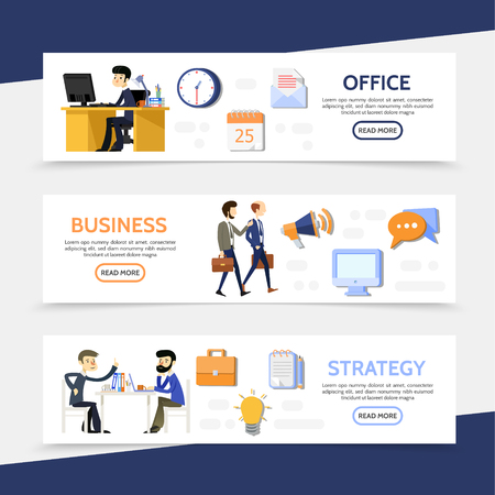 Flat business horizontal banners with businessmen managers office workplace calendar letter megaphone computer speech clouds briefcase lightbulb documents icons vector illustration
