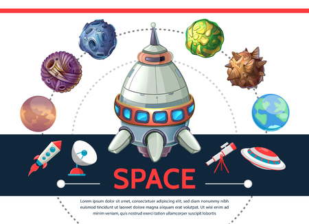 Cartoon colorful space template with shuttle rocket asteroids planets ufo satellite dish telescope isolated vector illustration