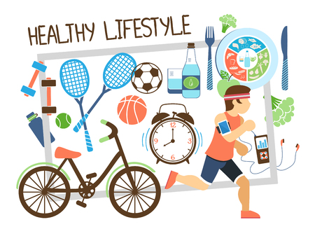 Flat active lifestyle composition with running man bicycle rackets balls healthy food clock in frame vector illustration Illusztráció