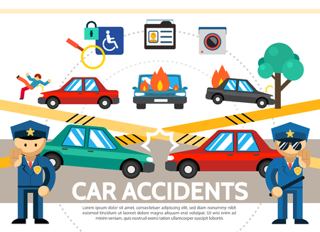 Flat auto accident concept with car crash pedestrian hit, burning automobiles, police and more. Vector illustration.