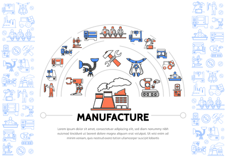 Production colorful line icons template with industrial equipment machineries factory wrench hammer conveyor belt robotic arms engineer forklift vector illustration