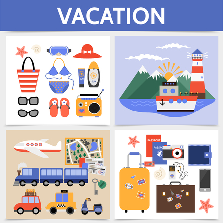 Flat summer vacation square concept with travel by airplane train car cruise ship voyage beach rest elements baggage camera passport tickets wallet vector illustration