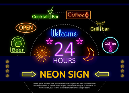 Glowing promotional neon signs template with colorful frames inscriptions arrows stars sparkles for pub cafe cocktail grill bars advertisement isolated vector illustration