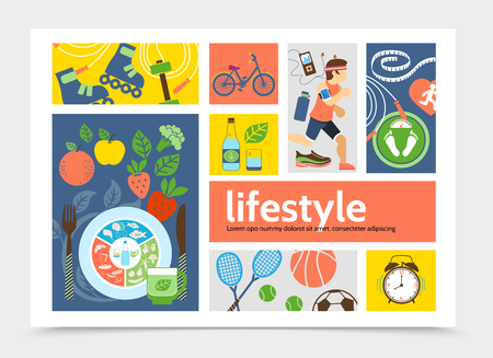 Flat healthy lifestyle infographic concept with running man, rollers, tennis, soccer, basketball, balls, alarm clocks, bicycle, fruits and vegetables. Vector illustration