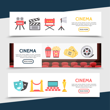 Flat cinema horizontal banners with movie camera, clapboard, director chair, projector, soda, popcorn, ticket,s film, reel theater, masks, red carpet, seats and award. Vector illustration