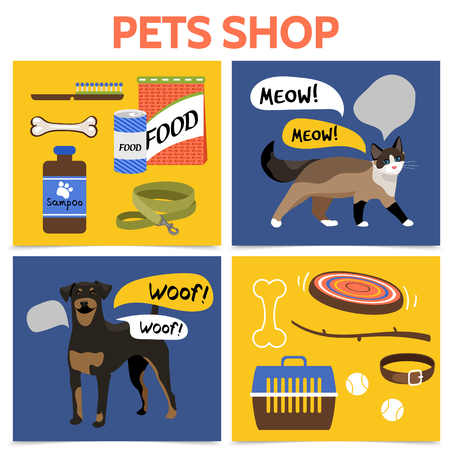 Flat pet shop square concept with dog cat carrier animal food toys shampoo comb collar leash bones vector illustration Vettoriali