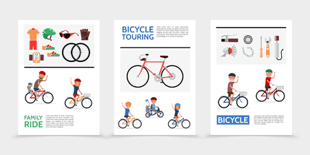 Flat bicycle posters with people riding bikes sportswear wheels glasses glove speedometer pump bell chain screwdriver wrench vector illustration Stock Illustratie