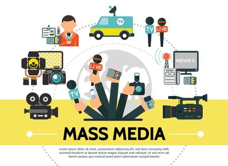 Concetto di mass media piatto con foto videocamere microfoni notizie auto flash USB drive reporter torre radio giornalisti mani che tengono dispositivi professionali illustrazione vettoriale
