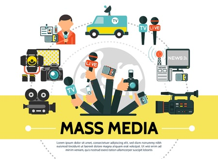 Flat mass media concept with photo video cameras microphones news car flash usb drive reporter radio tower journalists hands holding professional devices vector illustration