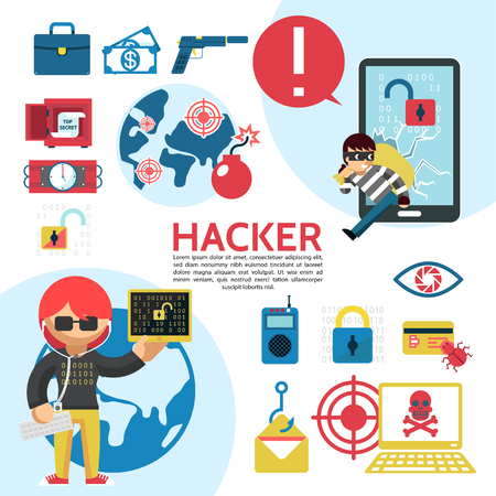 Flat hacking template with hackers safe dynamite briefcase lock eye scanning remote control laptop bomb money vector illustration Illustration