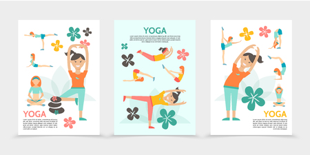 Flat yoga and harmony posters with girls exercising and meditating in different poses lotus flowers spa stones isolated vector illustration Stock Illustratie