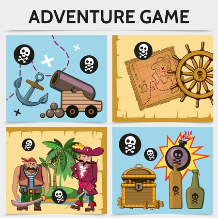 Cartoon mobile game concept with anchor cannon map ship steering wheel pirates tropical island treasure chest bottles bomb skull and crossbones vector illustration