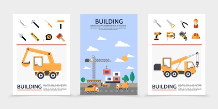 Flat building industry posters with builder construction vehicles repair tools and equipment isolated vector illustration