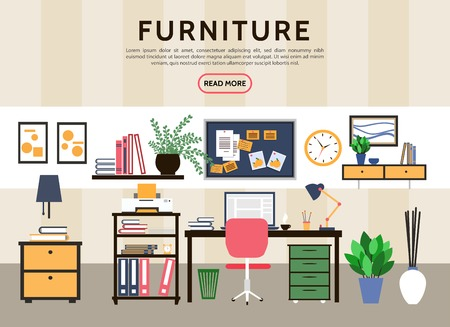 Flat designer workplace concept with table computer desk stickers printer folders lamp plants shelves clock chair coffee cup vector illustration
