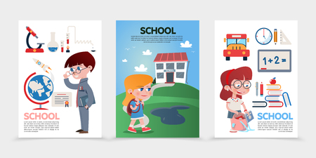 Flat education posters with pupils school building microscope certificate flasks globe rocket bus stationery board ruler clock books apple bag isolated vector illustration