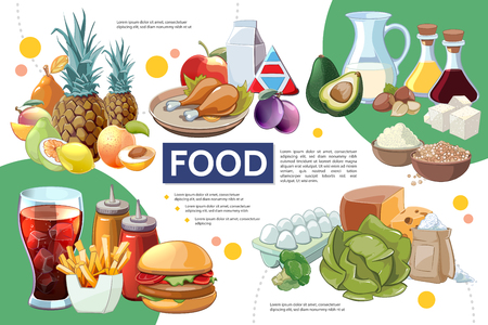 Cartoon food infographic concept with fruits vegetables drinks chicken eggs cheese sugar cereals nuts soy sauce olive oil vector illustration