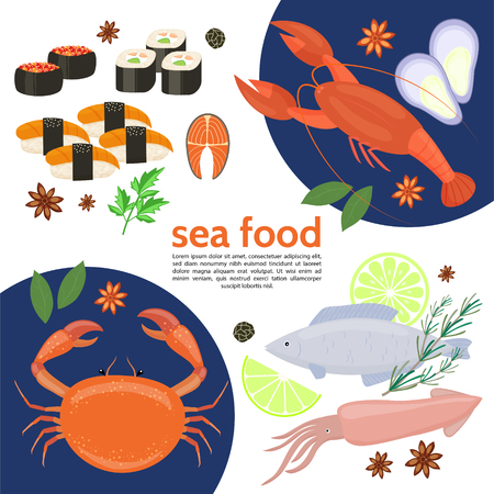 Flat natural sea food template with crab lobster squid fish sushi rolls herbs lime caviar isolated vector illustration