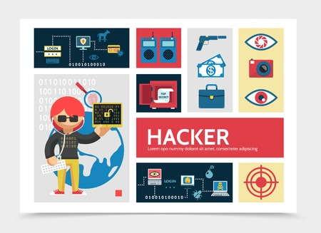 Flat hacker activity infographic template with hacking process remote control pistol money camera safe eye fingerprint scanning protection vector illustration Illustration