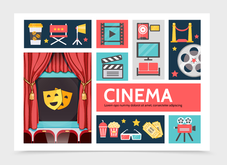 Flat movie infographic concept with coffee soda popcorn filmstrip projector cinema screen tv red carpet film reel eyeglasses tickets camera clapboard vector illustration