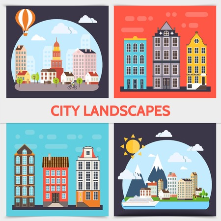 Flat city landscape square concept with buildings clouds sun trees ship and hot air balloon vector illustration Illustration