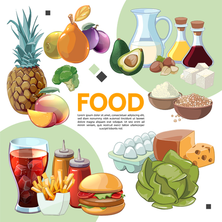 Colorful cartoon food composition with eggs fruits vegetables milk soy sauce olive oil cereals cheese soda french fries burger nuts vector illustration Illustration