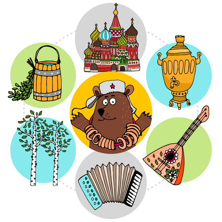 Flat russian traditions concept with bear wearing national hat balalaika St Basil Cathedral samovar wooden bucket accordion birch trees in colorful circles isolated vector illustration
