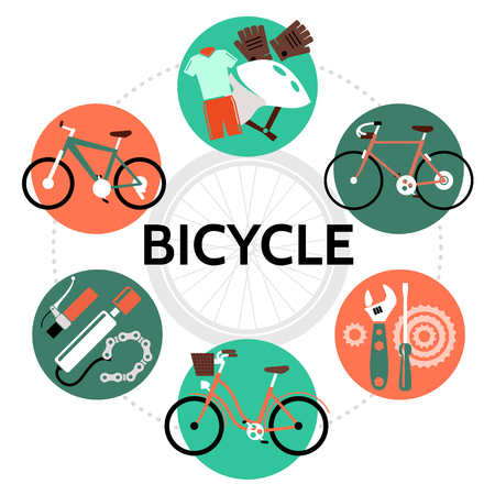 Flat bicycle round concept with bike jersey helmet gloves wrench screwdriver chain pump wheel isolated vector illustration Illustration