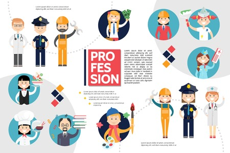 Flat professions infographic concept with policeman engineer builder doctor stewardess accountant painter chef teacher waitress artist vector illustration Illustration