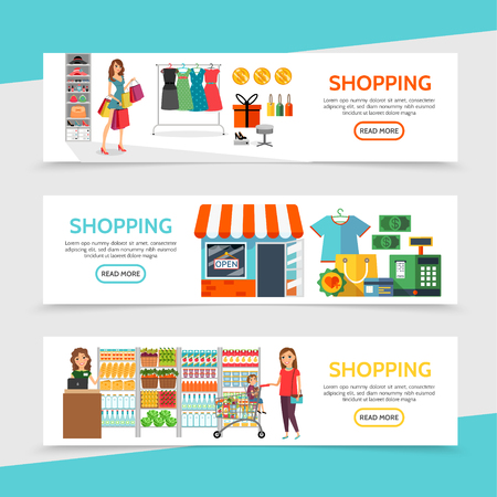 Flat shopping horizontal banners with customers seller different products store building bags present box cart money payment card cash register machine vector illustration