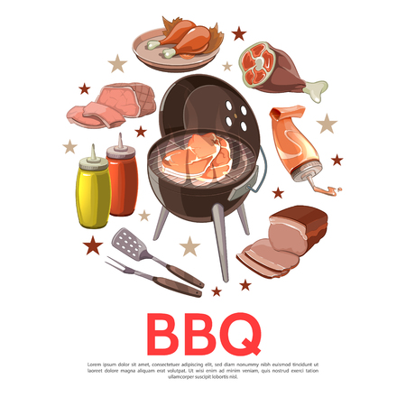 Colorful barbecue party round concept with bbq grill fork shovel pork beef meat slices chicken legs mustard ketchup isolated vector illustration