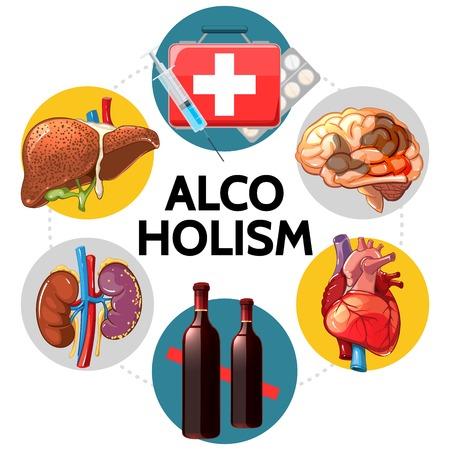 Cartoon alcoholism bad effects concept with sick liver brain heart kidneys medical box pills syringe wine bottles isolated vector illustration Illustration