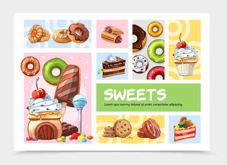 Cartoon sweets infographic concept with desserts ice cream cakes lollipops donuts biscuits macaroons chocolate bar candies isolated vector illustration