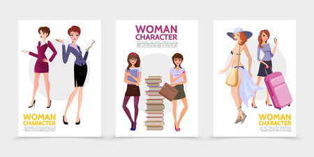 Flat woman characters posters with businesswoman secretary young students near stack of books pretty attractive traveling ladies isolated vector illustration Illustration